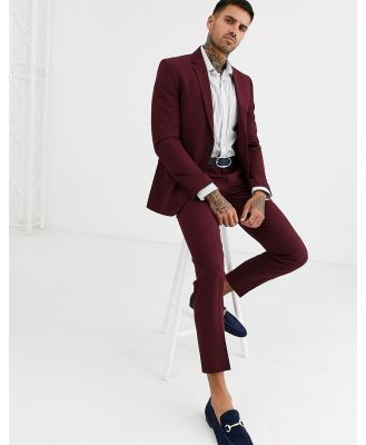 Burton Menswear skinny fit jacket in burgundy-Red