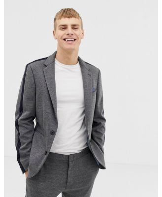 Burton Menswear skinny fit suit jacket with side stripe in grey