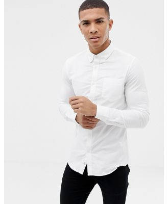 Burton Menswear skinny oxford shirt with stretch-White