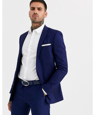 Burton Menswear skinny suit jacket in blue-Navy