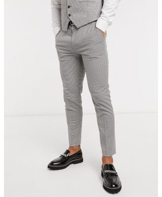 Burton Menswear skinny suit pants in brown dogtooth