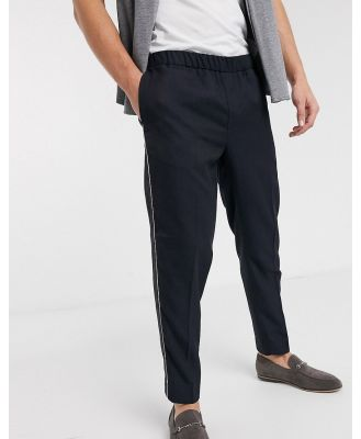 Burton Menswear slim fit pants in grey with navy white check-Black