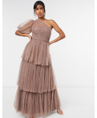 By Malina Constance maxi dress in tiered organza in taupe-Pink