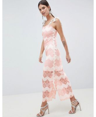 C By Cubic Striped Lace Maxi Dress - Pink