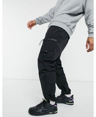C.P. Company lens chrome fabric lens joggers in black