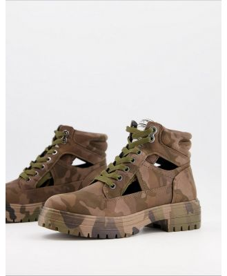 Call It Spring by ALDO River chunky lace up boots in camo-Green