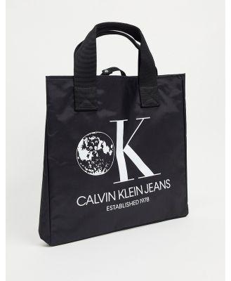Calvin Klein Jeans Established 1978 graphic bucket tote bag-Black