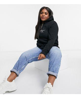 Calvin Klein Jeans Plus glitter logo hoodie in black