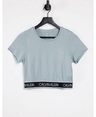 Calvin Klein Performance logo tape T-shirt co-ord in green