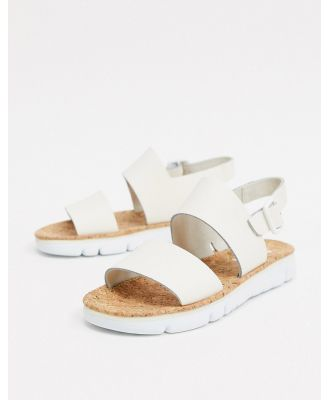 Camper flat sandal in off white leather