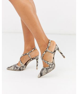 Carvela cross strap pointed court shoes in snake-Beige
