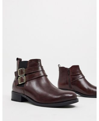Carvela tempo leather ankle boots with buckles in wine-Red