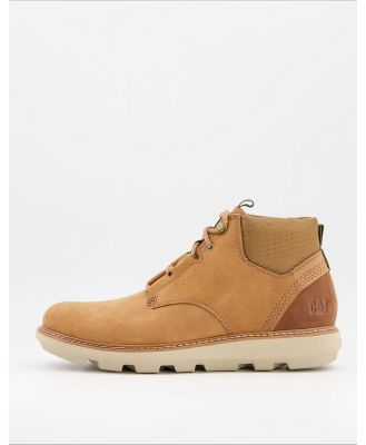 CAT brusk lace up boots in tan leather