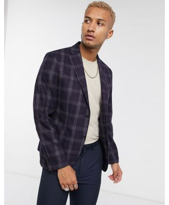 Celio blazer in navy and red check