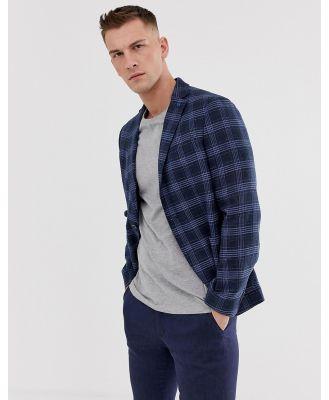 Celio slim fit check blazer in blue