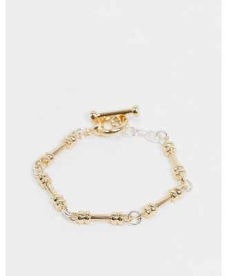 Chained & Able bracelet with bar clasp in mixed metal-Multi