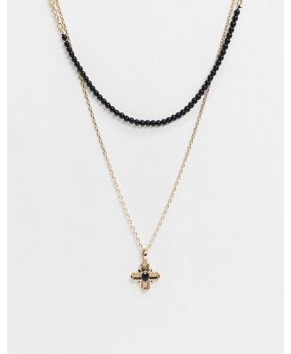 Chained & Able layered neckchains in gold split with black bead and cross pendant-Multi