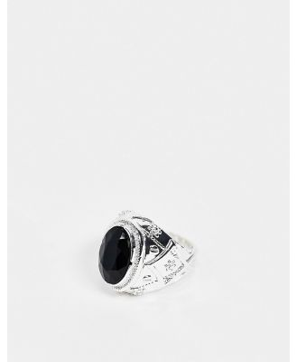 Chained & Able prince ring in silver with black stone