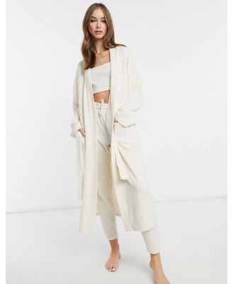 Chelsea Peers recycled poly ribbed lounge maxi cardigan in beige