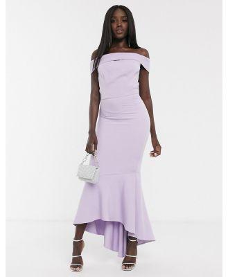 Chi Chi Enrica bardot midi dress in lilac-Purple