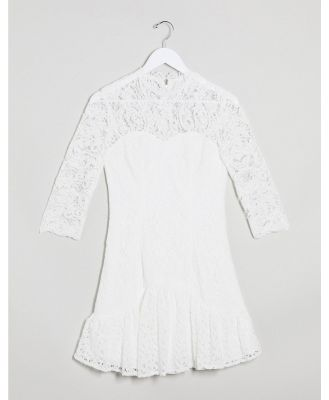 Chi Chi London flippy lace skater dress in white