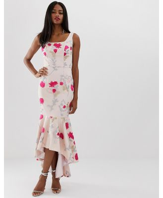 Chi Chi London floral embroidered high low dress with square neck in neon floral-Multi
