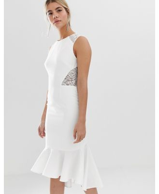 Chi Chi London lace insert midi dress with dip hem in white