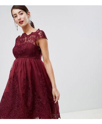 Chi Chi London Maternity lace detail midi dress-Red