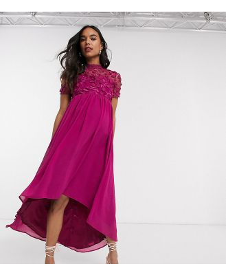 Chi Chi London Maternity lace detail midi dress with high low hem in fuchsia-Pink