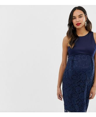 Chi Chi London Maternity lace pencil dress in navy