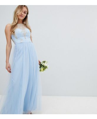 Chi Chi London Petite Bardot Neck Sleeveless Maxi Dress with Premium Lace and Tulle Skirt - Blue