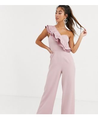 Chi Chi London Petite one shoulder ruffle jumpsuit in mink-Pink