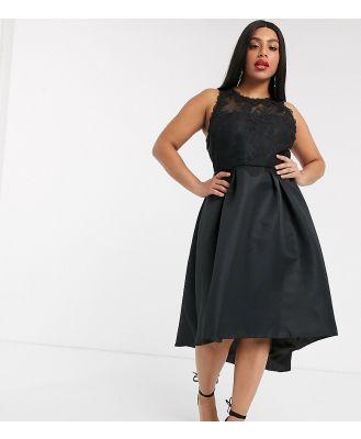 Chi Chi London Plus high low satin dress in black