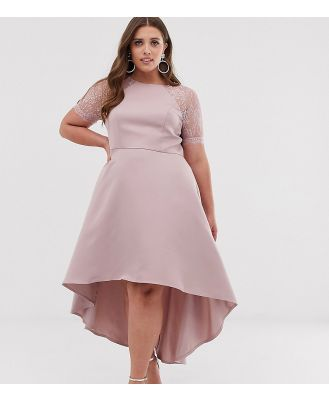 Chi Chi London Plus lace detail midi dress with high low hem in mink - Pink