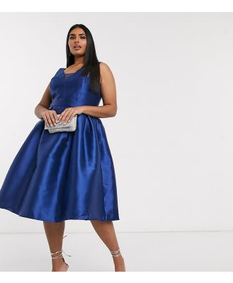 Chi Chi London Plus prom midi dress with sweetheart neckline in blue - Navy
