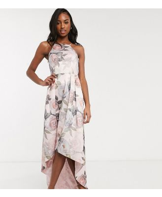 Chi Chi London Tall hi low dress in soft floral-Pink