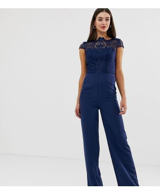 Chi Chi London Tall high neck 2 in 1 lace jumpsuit in navy