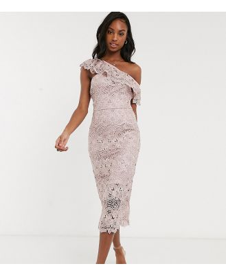 Chi Chi London Tall lace pencil dress with asymmetric ruffle in mink-Pink