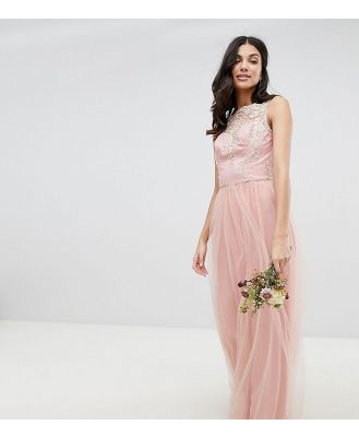 Chi Chi London Tall Sleeveless Maxi Dress with Premium Lace and Tulle Skirt - Pink