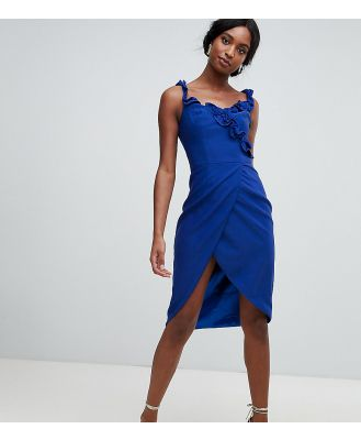 Chi Chi London Tall wrap pencil dress with frill detail in cobalt-Blue