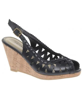 Chinese Laundry Leather Come Together Wedge Sandals-Black