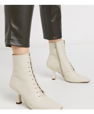 Chio Exclusive lace up heeled ankle boots in ivory leather-White