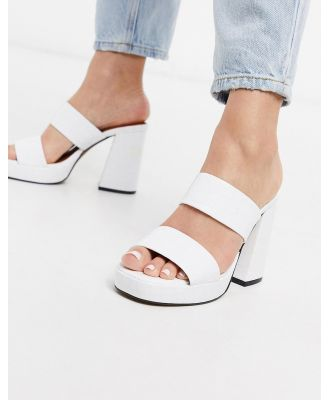 Chio platform mules in white patent leather