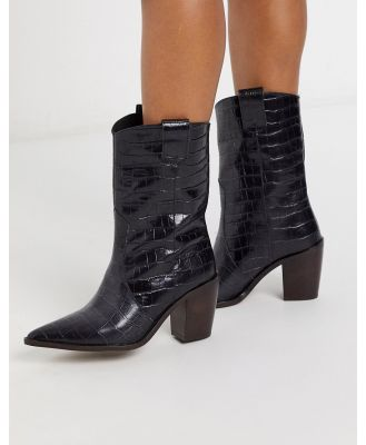 Chio western boots in black croc embossed leather