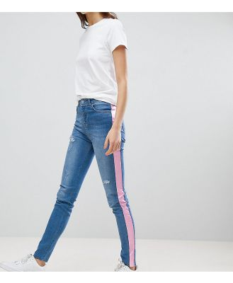 Chorus Tall Pink Foil Side Stripe Skinny Jeans - Blue