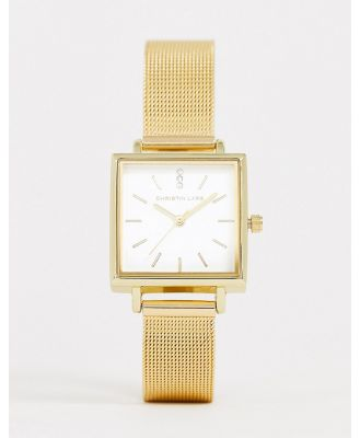 Christian Lars womens mesh square watch in gold