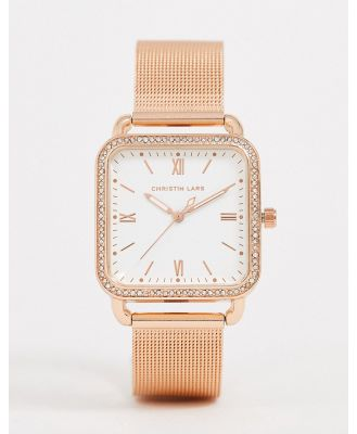 Christian Lars womens mesh square watch in rose gold-Pink
