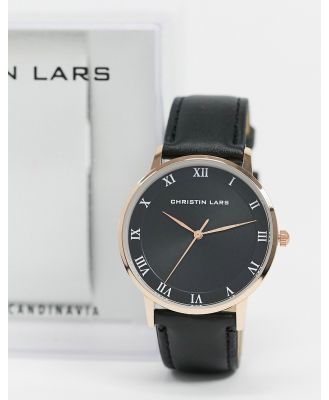 Christin Lars black leather watch with rose gold dial