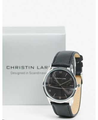 Christin Lars black leather watch with silver dial