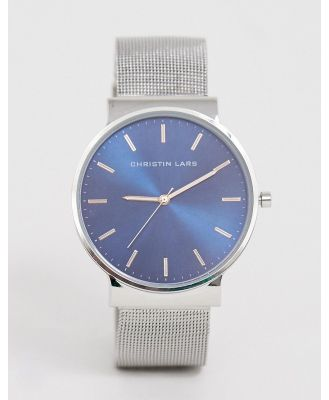 Christin Lars mens mesh watch with blue dial - Silver